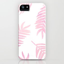 Pink Palm Leaves  |  White Background iPhone Case