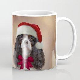 Cavalier King Charles Spaniel in red hat of Santa Claus Coffee Mug