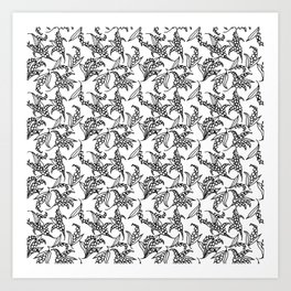 Black on White Vintage Lily-of-the-Valley Pattern Art Print