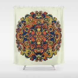 Orange Indian Mandala Shower Curtain