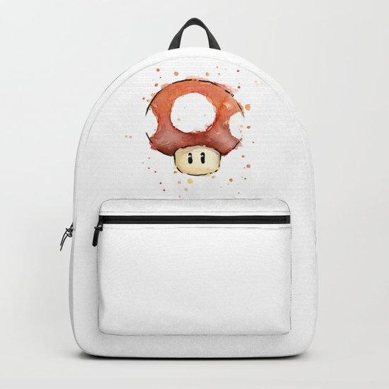 Red Mushroom Watercolor Mario Art Nintendo Geek Gaming Backpack
