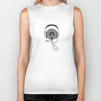 afro Biker Tanks featuring vinyl afro by Vin Zzep