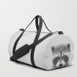 Raccoon - Black & White Duffle Bag