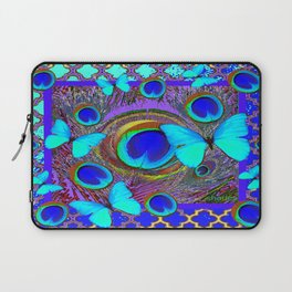 Abstract Blue Butterflies  Peacock Feather Eyes Pattern Art Laptop Sleeve