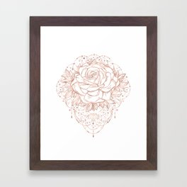 Mandala Lunar Rose Gold Framed Art Print