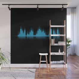 Blue Graphic Equalizer on Black Wall Mural