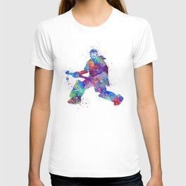 Girl Field Hockey Goalie Watercolor Print Sports Art Gifts Painting Home Decor T-shirt