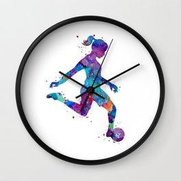 Soccer Girl Player Watercolor Art Gift Sports Art Wall Clock