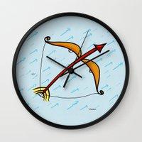 sagittarius Wall Clocks featuring Sagittarius by Giuseppe Lentini
