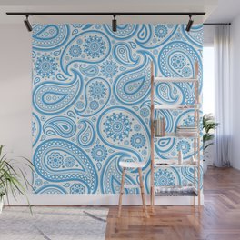 Light-blue and white vintage ham paisley pattern Wall Mural