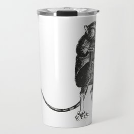 Say Cheese! | Tarsier with Vintage Camera | Black and White | Travel Mug