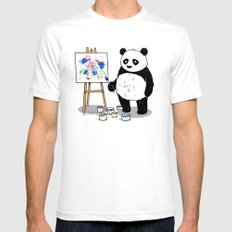 Panda Painter White Mens Fitted Tee SMALL
