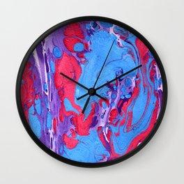 Handmade pink blue marble texture Wall Clock