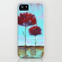 Cherished, Landscape Skinny Red Trees iPhone Case