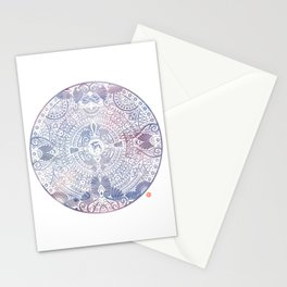 deer mandala (white) Stationery Cards
