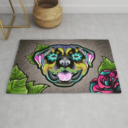 Rottweiler - Day of the Dead Sugar Skull Dog Rug