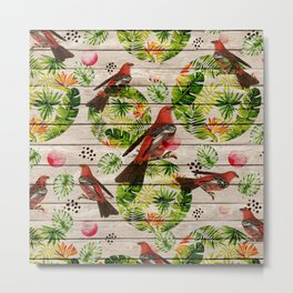 Rustic white wood tropical red green watercolor floral red birds Metal Print