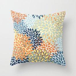 Modern, Floral Prints, Orange, Blue, Yellow Throw Pillow