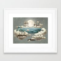 sun and moon Framed Art Prints featuring Ocean Meets Sky by Terry Fan