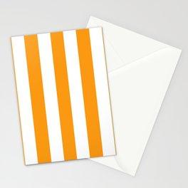 Kumquat orange - solid color - white vertical lines pattern Stationery Cards