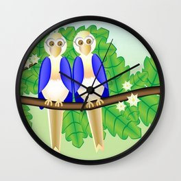 Happy birds on a branch Wall Clock