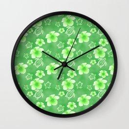 Green Hibiscus Honu Hawaiian Pattern Wall Clock