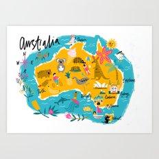 Illustrated map of Australia Art Print