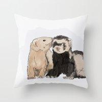 ferret Throw Pillows featuring Ferret Kisses by Dannie Ann