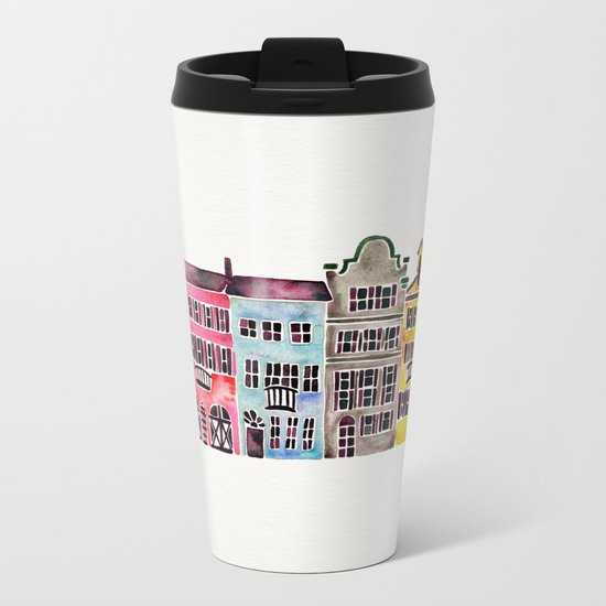 Rainbow Row – Charleston Metal Travel Mug