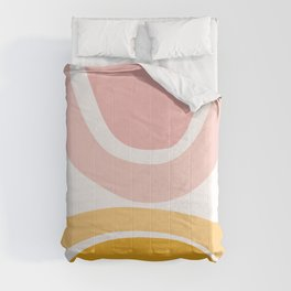 Abstract Shapes 17 in Mustard Yellow and Pale Pink Comforters