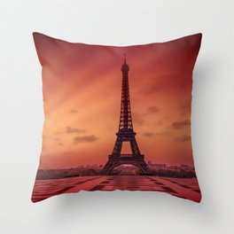 Eiffel Tower at Sunrise Throw Pillow