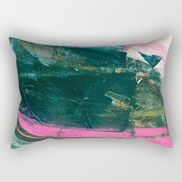 Meditate [3]: a vibrant, colorful abstract piece in bright green, teal, pink, orange, and white Rectangular Pillow