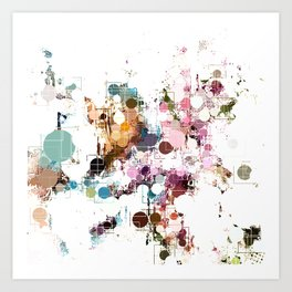Decorative Subdued Pastel Pattern Abstract Art Print