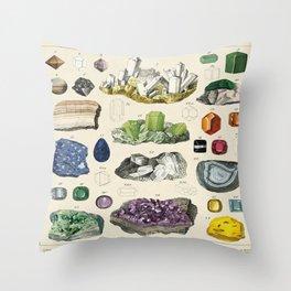 Minerals Crystals Gems Precious Stones Vintage Scientific Illustration Encyclopedia Labeled Diagrams Throw Pillow
