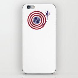 American Flag Vinyl Record Player Turntable iPhone Skin
