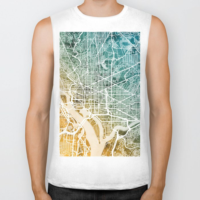 Washington DC Street Map Biker Tank