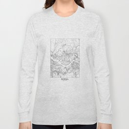 Seoul White Map Long Sleeve T-shirt