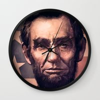 lincoln Wall Clocks featuring Lincoln by Dominick Saponaro