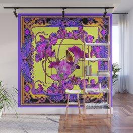 Decorative  Purple Vining Flowers Yellow Art Wall Mural