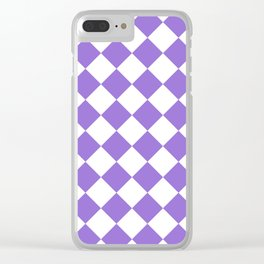 Large Diamonds - White and Dark Pastel Purple Clear iPhone Case