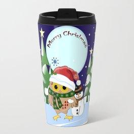 Santa Owl and his Snowman friend Travel Mug