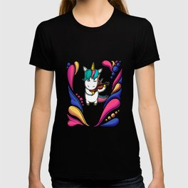 colorful unicorn music violin T-shirt
