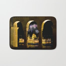 Hungarian Parliament with fireworks, Bath Mat