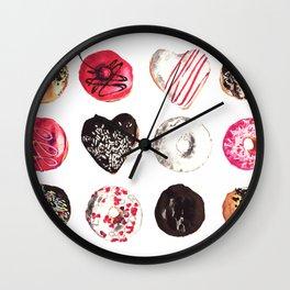 Assorted Donuts Valentine's Day Krispy Kreme Sprinkles Hearts Wall Clock