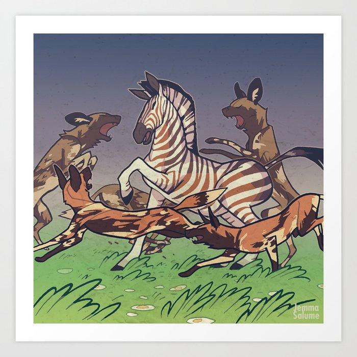 African Wild Dog Art Print By Jemmasalume