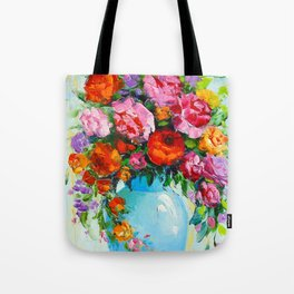 Bouquet of roses in a vase Tote Bag