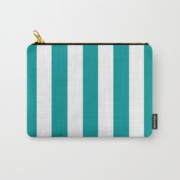 Viridian green blue - solid color - white vertical lines pattern Carry-All Pouch