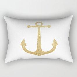 Gold Glitter Anchor Rectangular Pillow