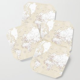 """Cream, white, red and navy blue world map, """"Deuce"""" Coaster"""