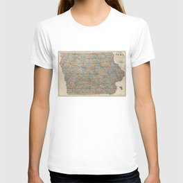 Vintage Map of Iowa (1875) T-shirt